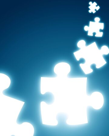 puzzle pieces on a dark blue background Stock Photo - 3826135