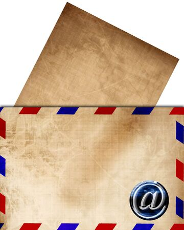 post scripts: Vintage air mail envelope with letter sticking out