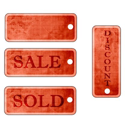 set of vintage price tags on a white background photo