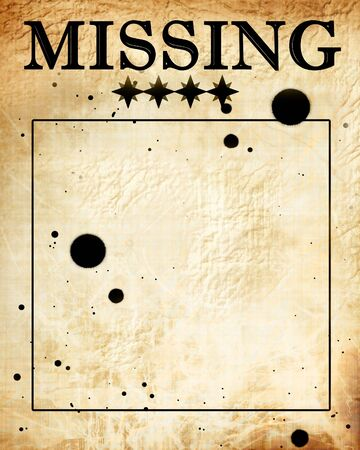lost child: missing: paper texture with some stains on it