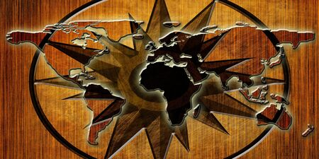 map of the world on a wooden background photo