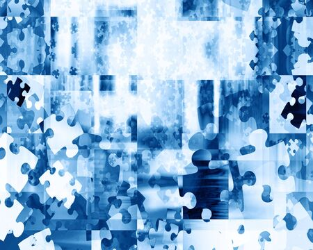 puzzle pieces on a soft blue backgroudn Stock Photo - 3866445