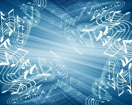 music notes on a soft blue background Stock Photo - 3866500