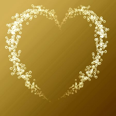 heart made out of champage bubbles on a golden background