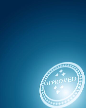 regulated: white approved stamp on a blue background Stock Photo