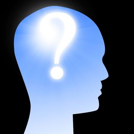 human head silhouette with a question mark in it
