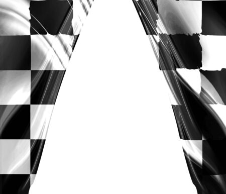 chequered: racing flag drapes with an open center in it Stock Photo