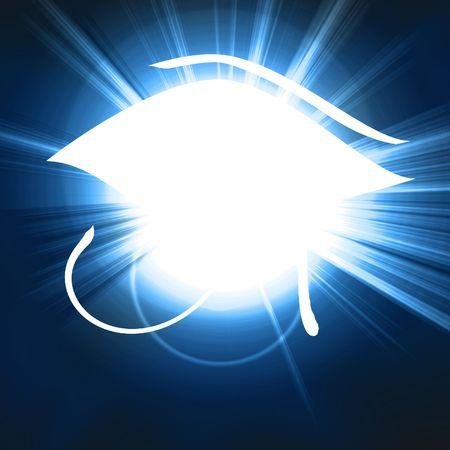 egyptian symbol: the eye of horus on a blue background Stock Photo