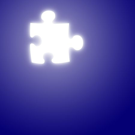 glowing puzzle piece on a blue background Stock Photo - 3861095