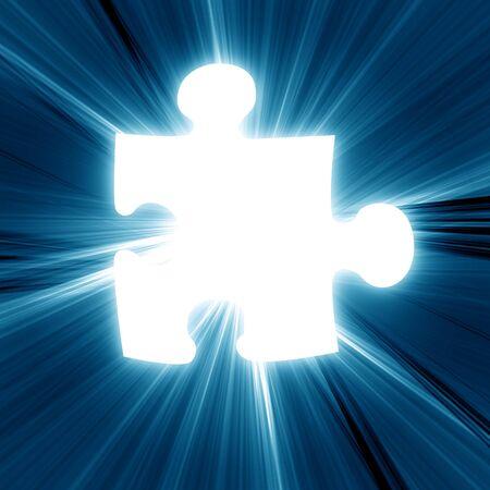 glowing puzzle piece on a dark background