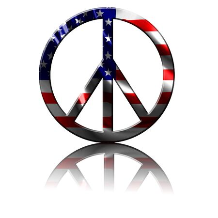 silver state: peace symbol with an integrated american flag Stock Photo