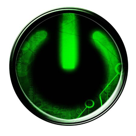 energize: Glowing green power button on a white background Stock Photo