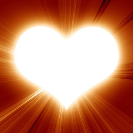 bright sunny heart on a red background photo