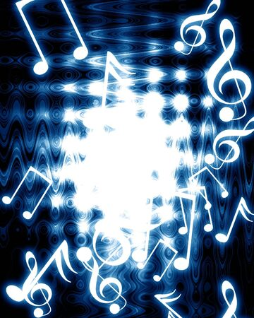 music notes on a sark blue background Stock Photo - 3866486