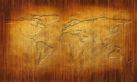 lineas rectas: Textura de madera con l�neas rectas y mapa del mundo