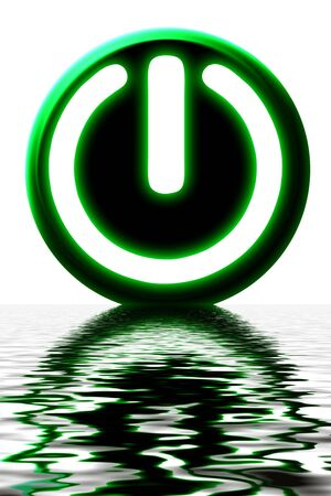 energize: green power button on a white background