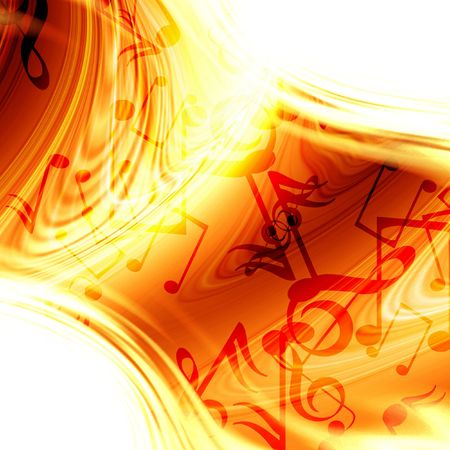 fire show: Abstract flowing fire background with music notes in it