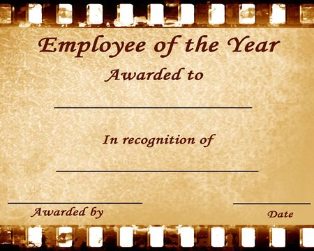 employee of the year: certificate with some stains