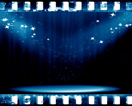 stage with spotlight on a blue background Stock Photo