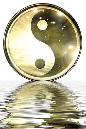 Yin Yang sign on a white background Stock Photo