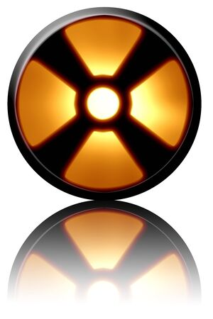 Yellow nuclear warning sign on a white background Stock Photo - 3909847