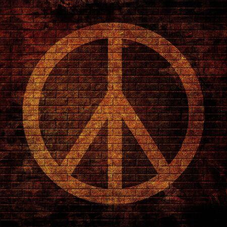 flower power symbol on a grunge wall photo
