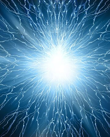 electrocute: electricity or sparkle on a dark blue background Stock Photo