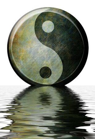 paz interior: Yin yang s�mbolo sobre fondo blanco Foto de archivo
