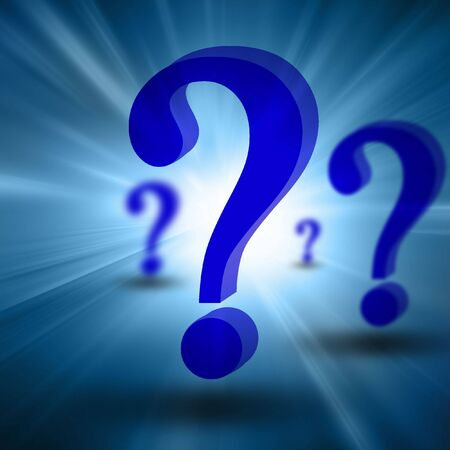 3d question marks on a blue background Stock Photo - 3909783