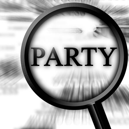 party on a white background with a magnifier Stock Photo - 3909841