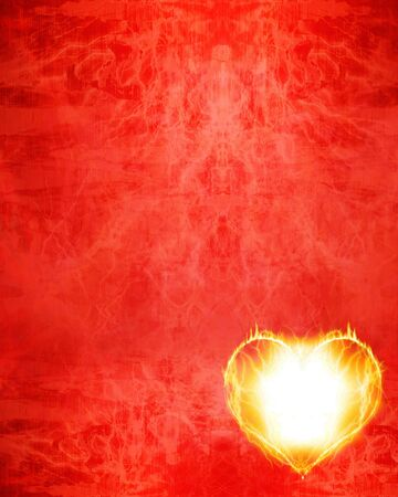 burning paper: red valentine paper with a burning heart on it Stock Photo