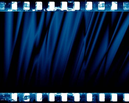famous actor: blue drapes with some smooth lines  in it Stock Photo