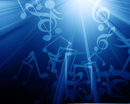 note pc: musical notes on a dark blue background