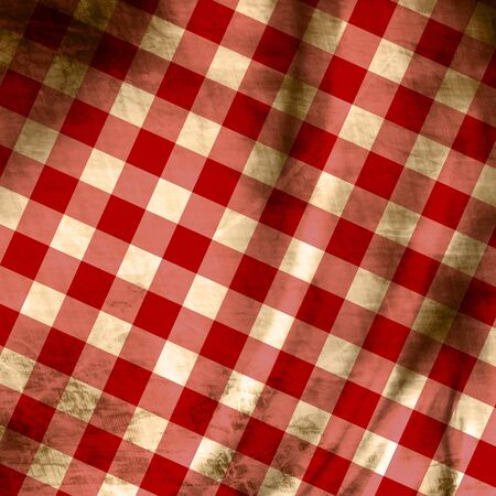Red picnic fabric with straight lines in it photo