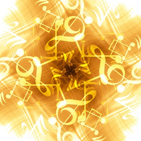 note pc: golden abstract background with music notes in it