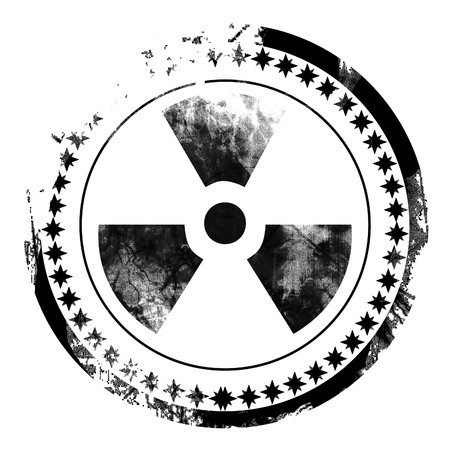 nuke: black postal stamp with the nuclear sign on it