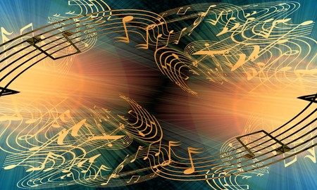 pc tune: music notes on a soft grunge background