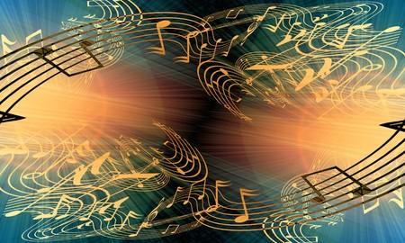 concert lights: music notes on a soft grunge background