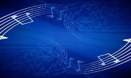 musical event: music notes on a dark blue background