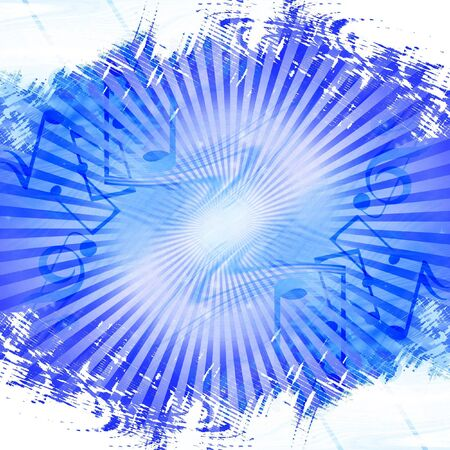Blue abstract background with music notes in it photo