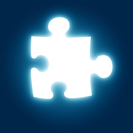 contemplating: glowing puzzle pieve on a blue background Stock Photo