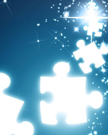 puzzle pieces and glitter on a blue background Stock Photo - 3930948