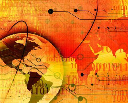 world wide: Digital world on a soft orange background Stock Photo