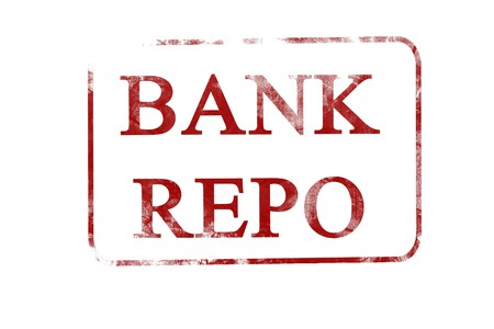 repo: old red stamp with bank repo on it