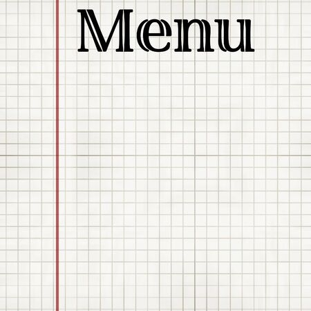 sheet menu: sheet of office paper with menu on it