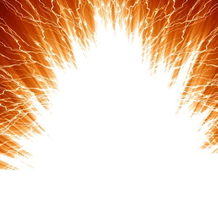 blow up: explosion on a red or orange background
