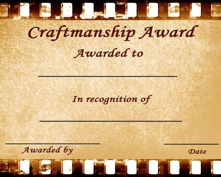 craftmanship: craftmanship award: certificate with some damage on it