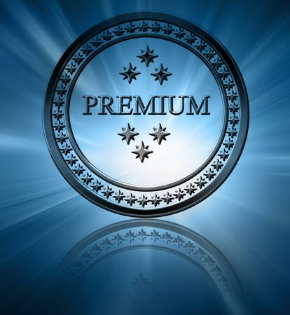 regulated: Silver premium stamp on a blue background