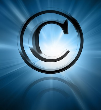 regulated: Silver copyright symbol on a blue background