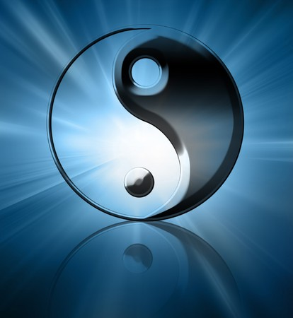 ying yang: Silver yin yang symbol on a blue background